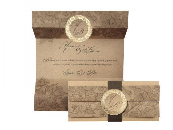Klassieke trouwkaart met wikkel