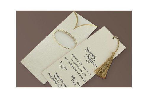 Luxe trouwkaart met gouden kwastje
