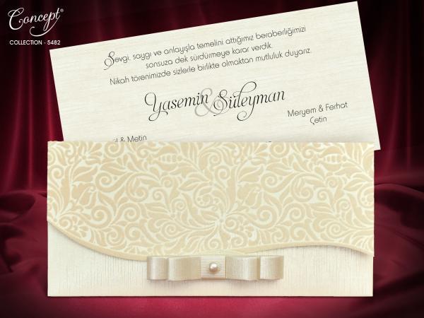 Moderne trouwkaart ivoor
