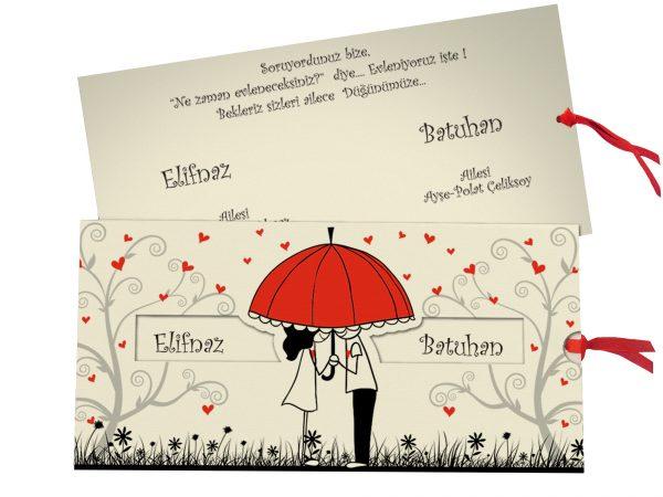 Moderne romantische trouwkaart 5484