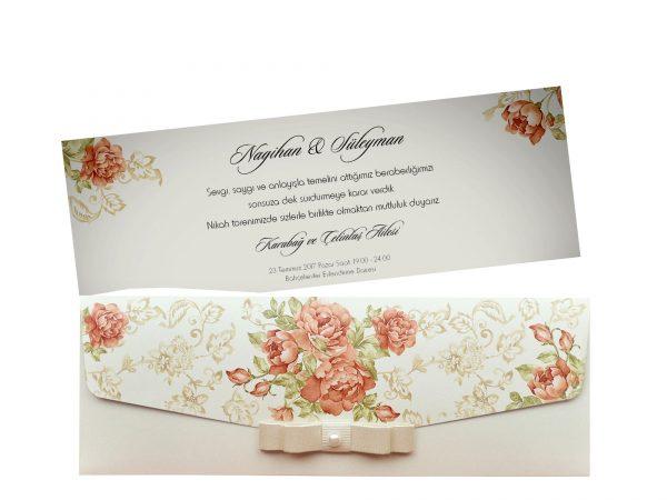 Stijlvolle trouwkaart flowers 5493