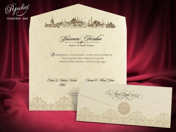 Klassieke trouwkaart met envelop