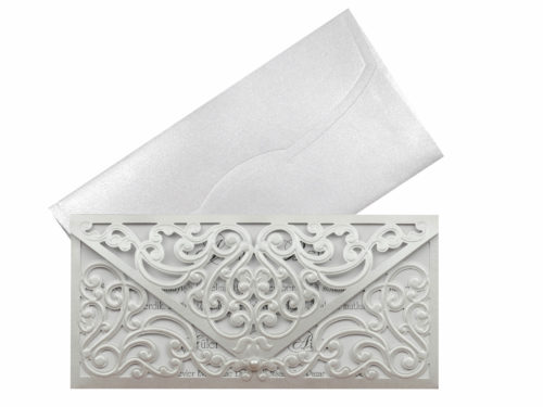 Luxe trouwkaart zilvergrijs