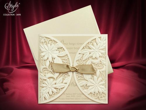Luxe trouwkaart vierkant