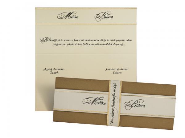 Stijlvolle trouwkaart met wikkel