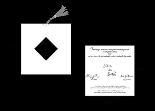 Vierkante trouwkaart met koortje