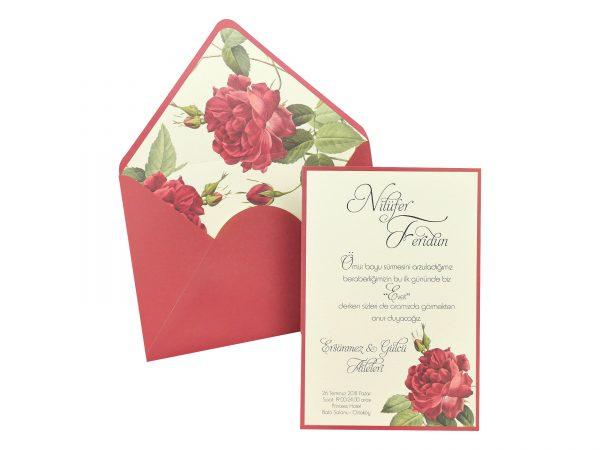 Trouwkaart met rozen decoratie