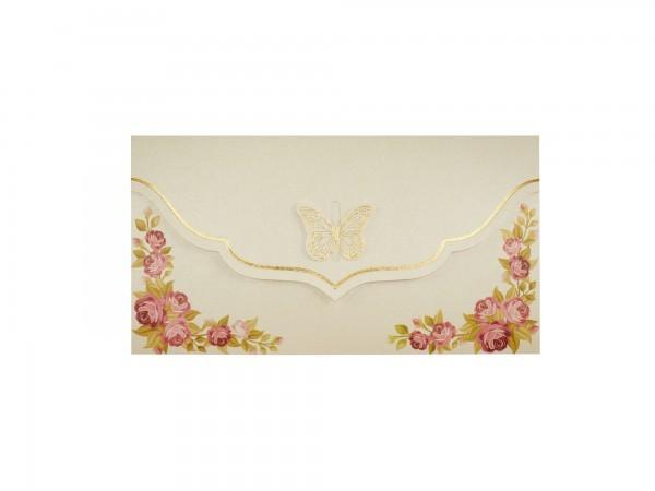 Bloemrijke trouwkaart Vlinder