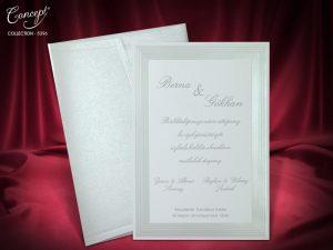 Trouwkaart met decoratieve lijst zilver