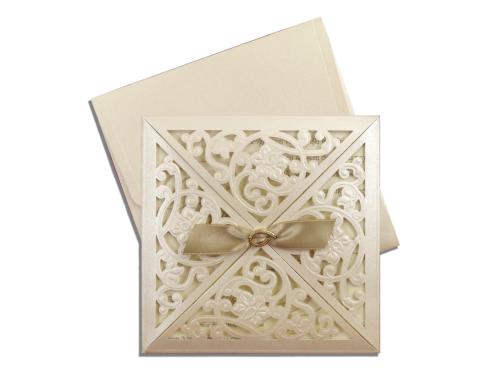 Luxe vierkante huwelijkskaart