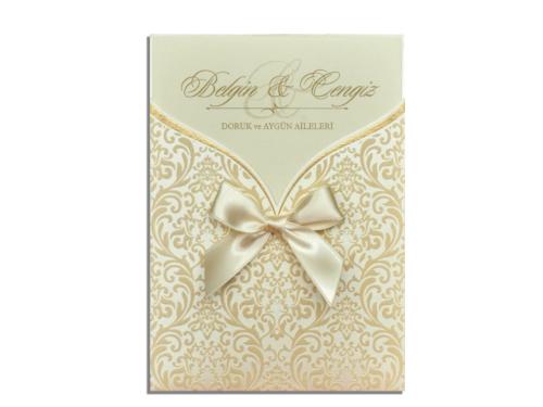 Luxe gouden huwelijkskaart met strikje