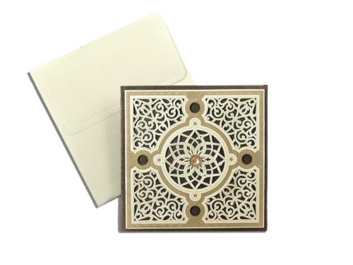Luxe huwelijkskaart met mediterraanse vormen