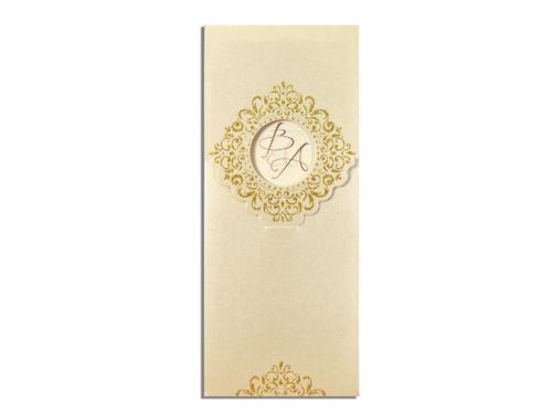 Langwerpige gouden luxe bruiloftkaart