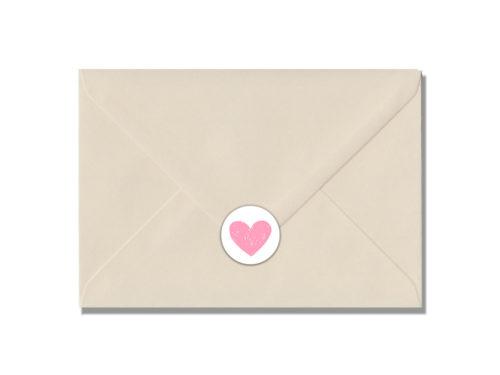 Hartje roze -envelop