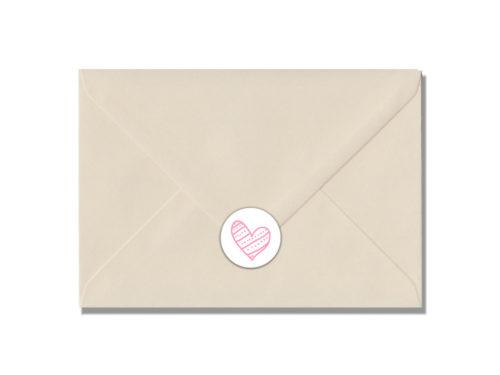 hartje roze stippen-envelop