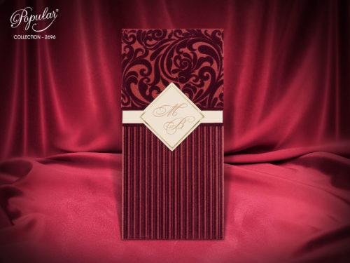 Bruiloft uitnodigingskaart met textiel decoratie-2696