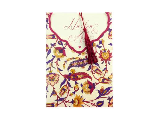 Trouwkaart met bloemhouder