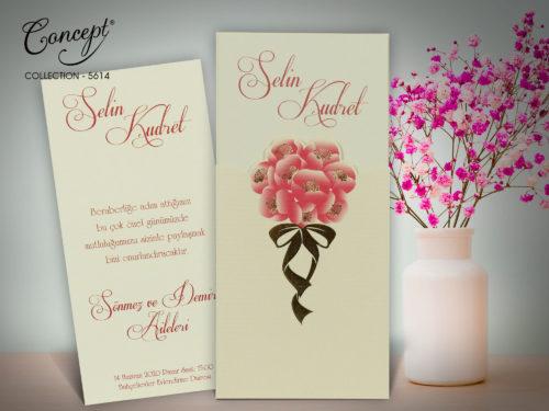 Trouwkaart met bloemen boeket