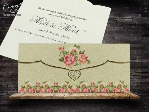 Gevouwen trouwkaart hartje en roos