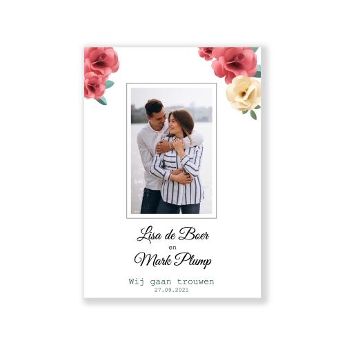 Moderne trouwkaart met foto op de voorkant