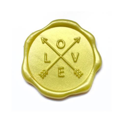 Wax zegel love goudgeel