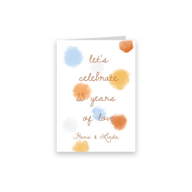 Jubileumkaart vrolijk en kleurvol