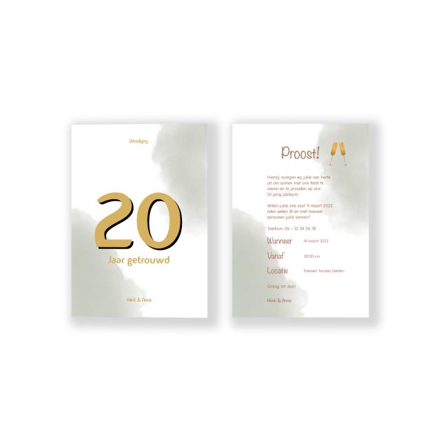 Jubileumkaart met groengrijze waterverf en goud